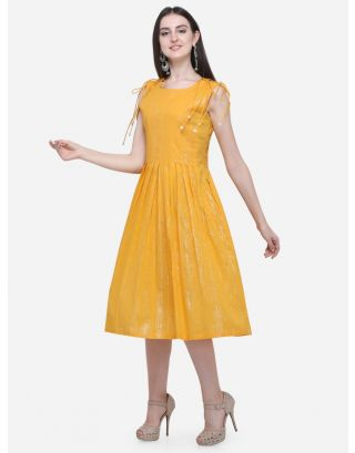 Yellow Drawstring Pleated Dress