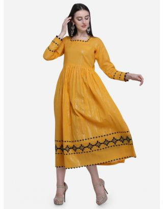 Yellow Printed Gathered Dress