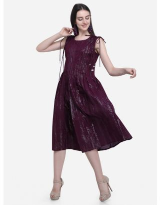 Wine Drawstring Pleated Dress