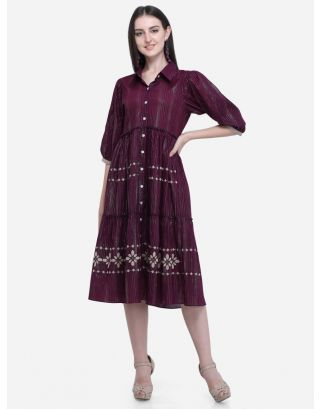 Wine Printed Collar Dress