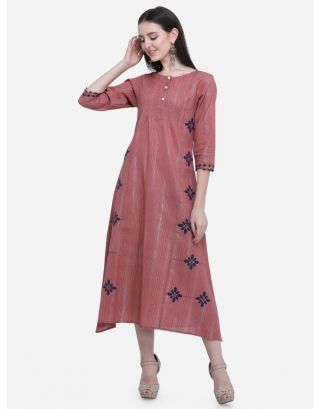 Rose Pink Pintucks A Line Dress
