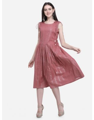 Rose Pink Drawstring Pleated Dress