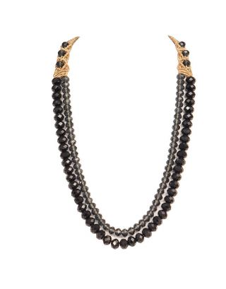 Black Two Crystal Strings Necklace