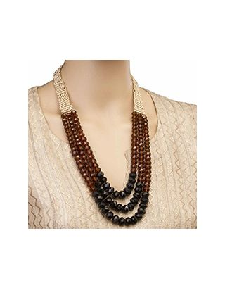 Brown Three Crystal Strings Necklace
