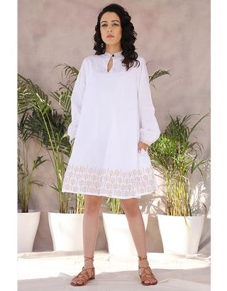 White Baloon Sleeve Dress