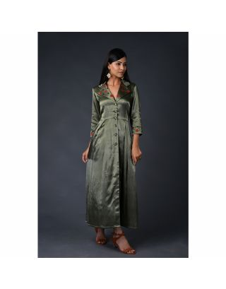 Olive green gaji silk coat with Pant