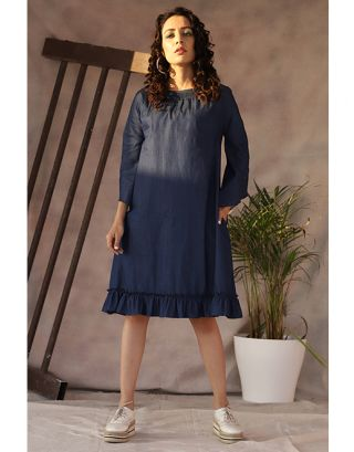Denim Frill A-Line Dress