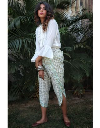 White Ruffled Shirt with Dhoti