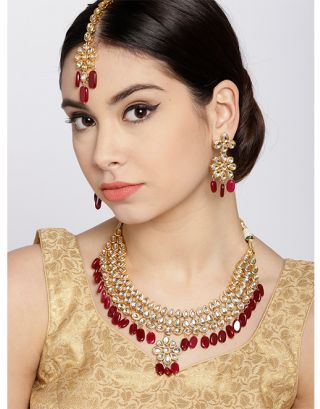 Ruby Golden Kundan Necklace Set with Maang Tikka