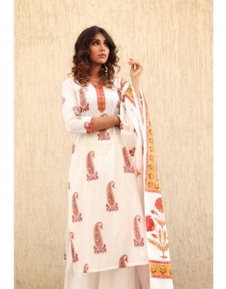 White and Red Kurta Palazzo Set