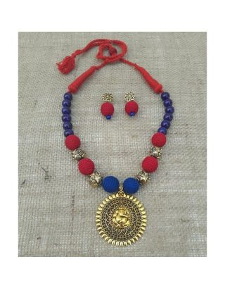 Blue and Red Necklace with Ganesha Pendant