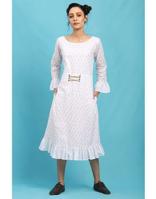 White Rivit Block Printed Dress
