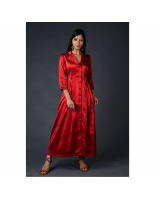Red gaji silk coat with Pant