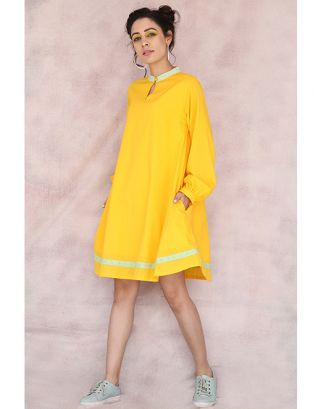 Yellow Baloon Sleeve Dress