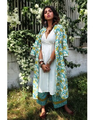 White Kurta with Printed Long Jacket and Palazzo