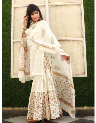 White and Grey Kurta Sharara Set