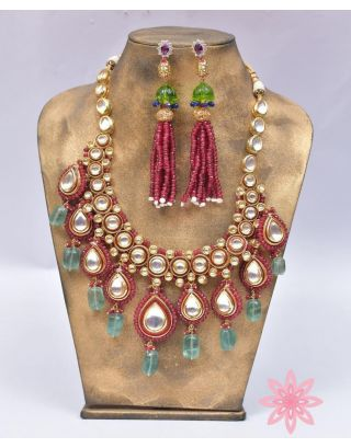 Red And White Kundan Set