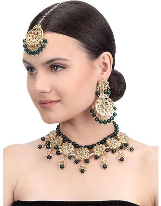 Green Golden Kundan Necklace Set with Maang Tikka
