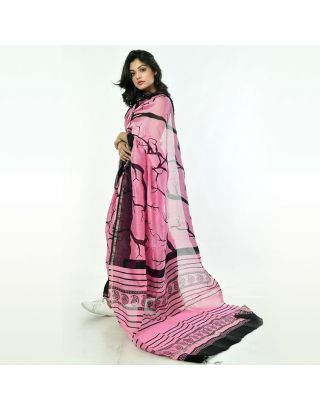 Pink Black Printed Chanderi Silk Saree