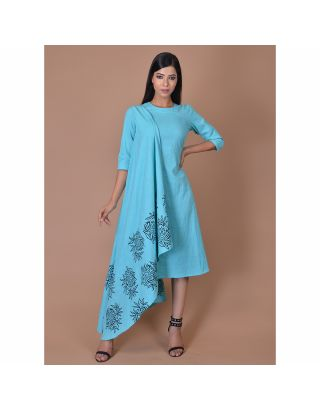Light Blue Block Printed Drape Dress