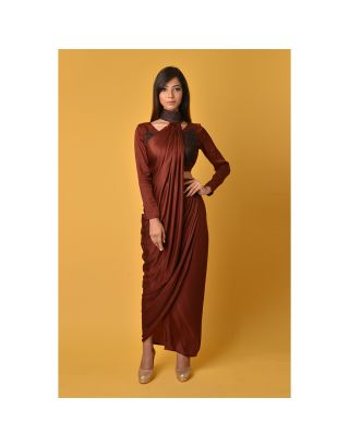 Maroon Crop Top with Skirt and Neck Drape