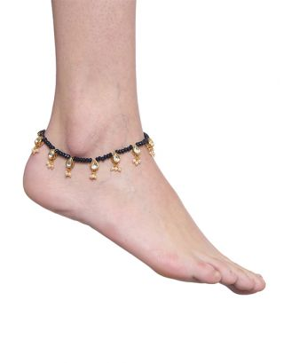 Black Beaded Golden Kundan Anklets