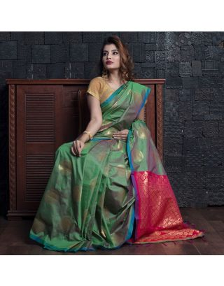 Jade Green Silk With Pink Zari Pallu