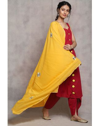 Yellow and Maroon Suit Set