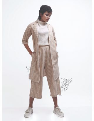 Beige Striped Overgarment with Culottes