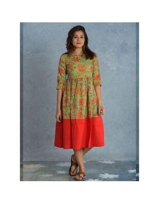 Green and Red Block Printed Dress