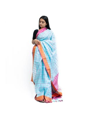 Sky Blue Checked Saree
