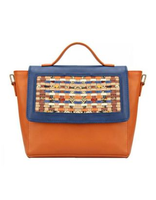 Blue Tan The Ornate Hand Bag