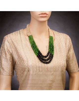 Green Three Crystal Strings Necklace