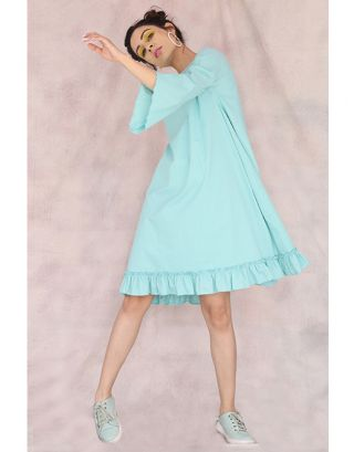 Turquoise Frill A-Line Dress