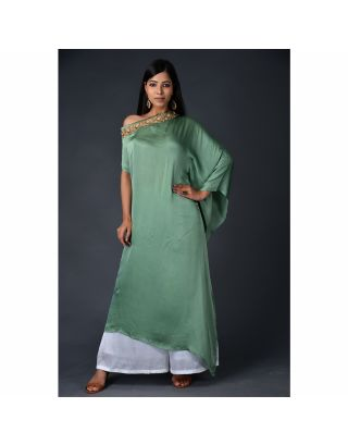 Green Modal Asymmetric Drape Set