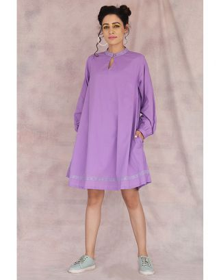Lavender Baloon Sleeve Dress