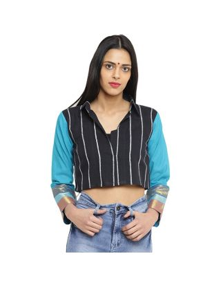 Black and Turquoise Crop Jacket