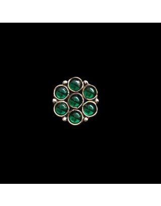 Silver Green Stone Floral Nose Pin