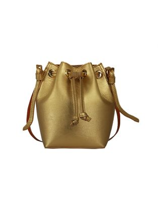Gold penny bucket bag