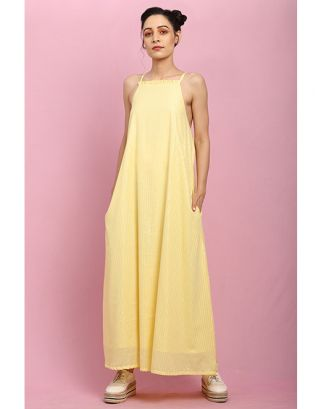 Yellow Light Frill Maxi Dress