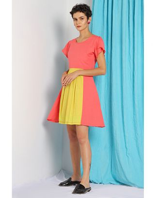 Pink and Yellow Pleated Dress
