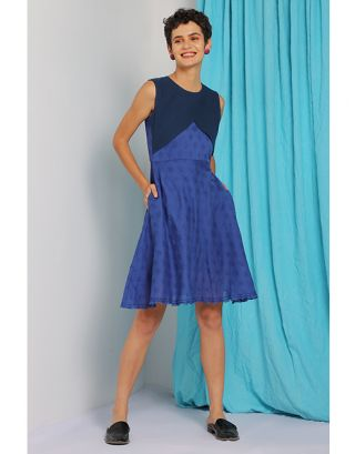 Blue Front Overlap Dress