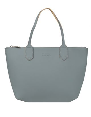 Sky Blue Leather Large Tote Bag