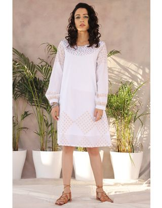 White Dana Moti Dress