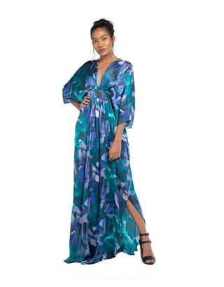 Blue Draped Maxi Kaftan