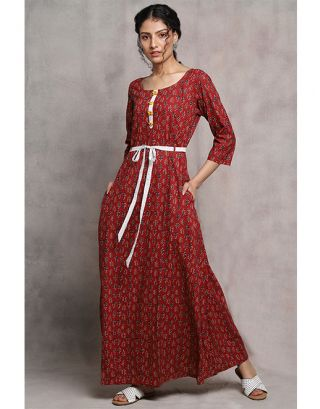 Maroon Printed Maxi Dress