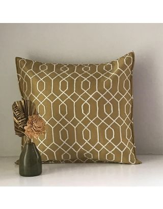 Beige Embroidered Cushion Cover