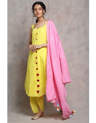 Yellow and Pink Cotton Suit Set