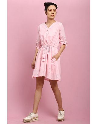 Baby Pink Button Tie-Up Dress