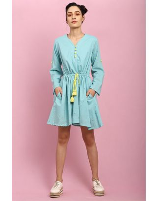 Turquoise Button Tie-Up Dress